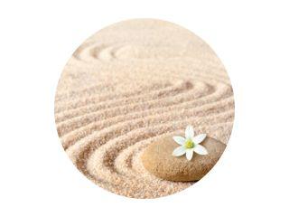 stenen en witte bloem op het zand met cirkels