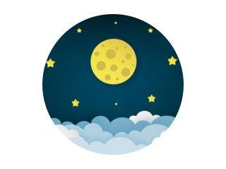 Volle maan, sterren en wolken op de donkere achtergrond van de middernachthemel. Nacht hemel landschap achtergrond. Papier kunststijl. Schoon en minimaal ontwerp. Vectorillustratie.