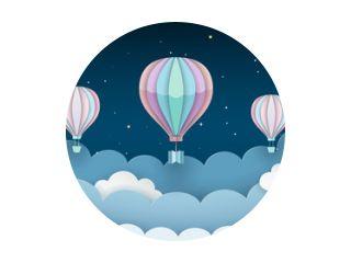 Heteluchtballonnen, sterren en wolken op de donkere nachtelijke hemelachtergrond. Nachtscène achtergrond. Papier ambachtelijke stijl. Vectorillustratie.