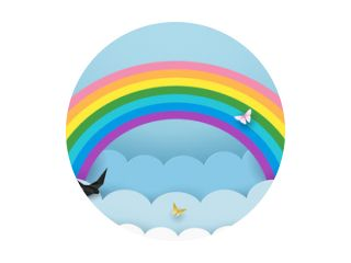 Gelaagde cloudscape achtergrond met regenboog, vliegende vogels en vlinders. Pluizige wolken in de lucht. Kinderkamer, babykamer behang. Minimaal papierkunstontwerp. Vectorillustratie.