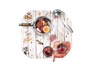 Glühwein koken. Aquarel illustratie.