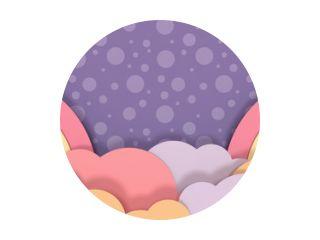 Regenbogen en wolken papier ambachten op paarse stippen patroon achtergrond.