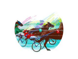Jockey en paard. Sulky racen
