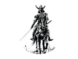 Samourai met zwaard op een paard