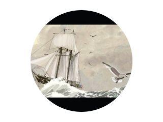 Oud zeilschip op een ruwe zee
