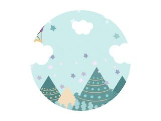 Kinderkamerbehang met grafische afbeelding winterbos, berg en luchtballon. Kan worden gebruikt voor afdrukken op de muur, kussens, decoratie kinderinterieur, babykleding, shirts en wenskaarten