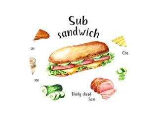 Sub Sandwich met ham, kaas en groenten ingrediënten set. Aquarel hand getekende illustratie, geïsoleerd op een witte achtergrond