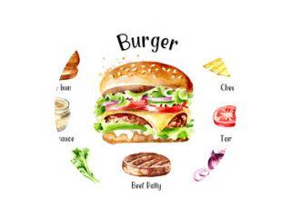 Hamburger met kaas en groenten ingrediënten set. Aquarel hand getekende illustratie, geïsoleerd op een witte achtergrond