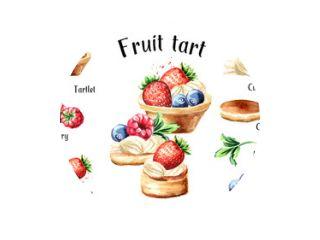 Feestelijk eten. Zoete taart met fruit en bessen recept en ingrediënten set. Aquarel hand getekende illustratie, geïsoleerd op een witte achtergrond