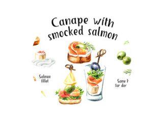 Voorgerecht voor een feestelijke tafel. Mini canapé met zalmfilet recept en ingrediënten set. Aquarel hand getekende illustratie geïsoleerd op een witte achtergrond