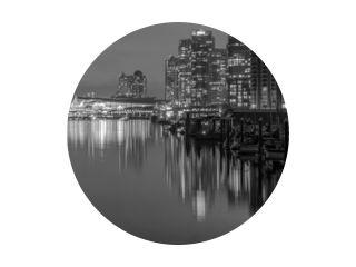 Vancouver Skyline bij nacht B &amp  W