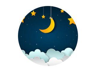 Halve maan met sterren en wolken in de nachtelijke hemel. Maan en sterren papier stijl kunst achtergrond - Stockvector