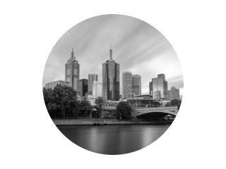 Melbourne Skyline zwart-wit