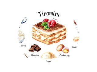 Tiramisu, Italiaanse traditionele zoete dessertrecept ingrediënten set. Aquarel hand getekende illustratie geïsoleerd op een witte achtergrond