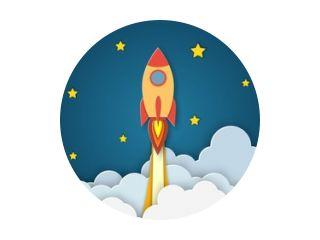 Raket voor opstarten zakelijk project. Papier gesneden opstartpostersjabloon met ruimteraket. Concept bedrijfsidee, opstarten, exploratie. flyers, banners, posters en sjablonen ontwerpen.