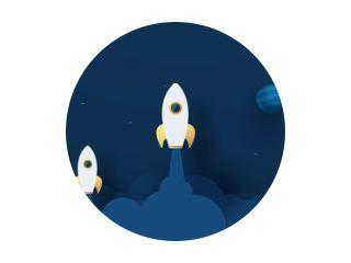 Rocket Leadership Concept met Paper Art of Origami Design Vector Illustratie Nachtelijke hemel, stralende sterren, maan, planeten, pluizige wolken.