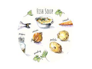 Vissoep Ingrediënten. Aquarel set voedsel met inscripties: vis, ui, peper, zout, persley, poteto, wortel, knoflook, citroen. Geïsoleerd.