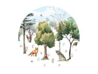 fotobehang voor kinderen. bos met dieren. Waterverf