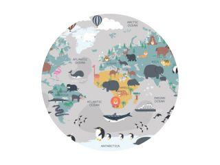 De wereldkaart met tekenfilmdieren voor kinderen, natuur, ontdekking en continentnaam, oceaannaam, naam van het land. vector illustratie.