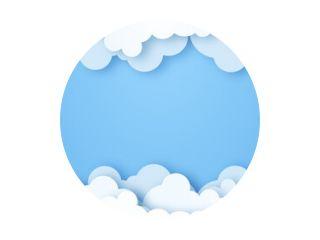 Wolken op blauwe hemelbanner. Witte wolk op blauwe lucht in papier gesneden stijl. Wolken op transparante achtergrond. Vector papier wolken. Witte wolk op blauwe hemel papier gesneden ontwerp. Vector papier kunst illustratie