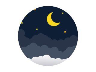 nachtelijke hemel met sterren en maan. papier kunststijl. Vector van een wassende maan met sterren op een bewolkte nachtelijke hemel. Maan en sterren achtergrond.