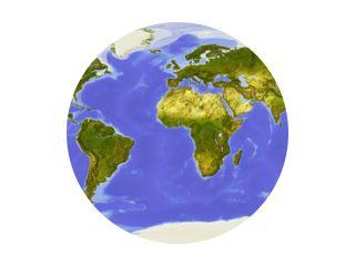 Wereldkaart gecentreerd op Afrika.