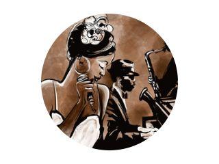 Jazzband met zanger, saxofoon en piano - illustratie