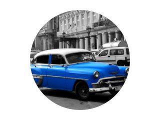 Oude blauwe Amerikaanse auto in Havana, Cuba