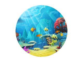 Illustratie: De berg in de zee - Vis is als een vogel. - Scèneontwerp - Fantastische stijl