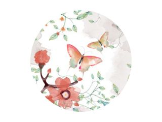 Creatieve illustratie en innovatieve kunst: vlinder, bloem en bladeren. Realistische fantastische kunstscène in cartoonstijl, behang, verhaalachtergrond, kaartontwerp