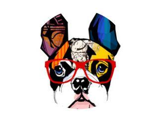 Portret van een Franse bulldog met een zonnebril