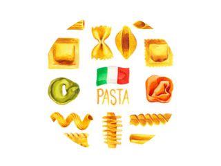 Italiaanse pasta eten set aquarel illustratie geschilderd met vlag van Italië