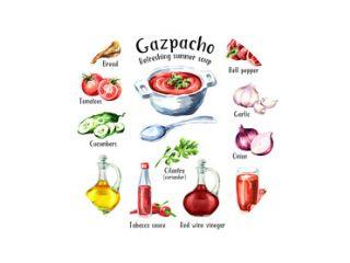 Gazpacho. Koude Verfrissende zomersoep. Ingrediënten. Aquarel hand getekende illustratie, geïsoleerd op een witte achtergrond