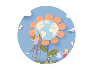 Kinderen die voor de aardebloem met blauwe hemelachtergrond zorgen. Bewaar de planeetkaart. Vector illustratie. Papier knippen en ambachtelijke stijl.