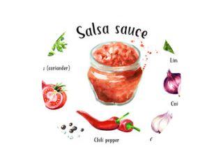 Salsasaus met alle ingrediënten ser. Aquarel hand getekende illustratie geïsoleerd op een witte achtergrond