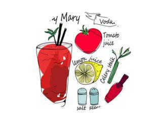 Bloody Mary-ingrediënten. Gekleurde grafische handgetekende vectorillustratie