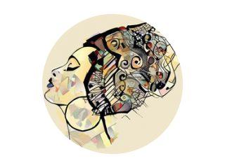 Portret van schattige Afrikaanse vrouw met hoed (profiel)