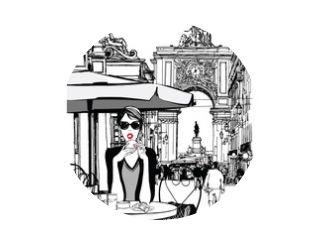 Vrouw aan het ontbijten in de straat van Lissabon