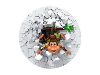 3D-achtergrond, kleine aap die uit een gebroken muur gluurt. 3D-muur ziet er heel mooi uit en brengt ook verschillende kleuren in de kamer! Het zal de kinderkamer visueel uitbreiden en een accent in het interieur worden