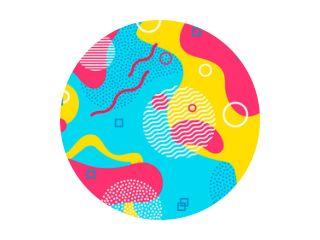 Kleur achtergrond. Memphis abstract patroon van geometrische vormen. Geometrische elementen