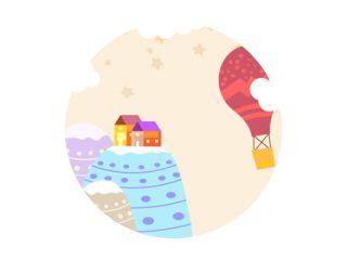 Grafische illustratie voor kinderkamerbehang met huishemel vol sterren, heuvel en luchtballon. Kan worden gebruikt voor afdrukken op de muur, kussens, decoratie kinderinterieur, babykleding, shirts en wenskaarten