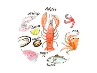 Aquarel zeevruchten menu illustratie set