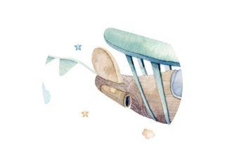 Aquarel set achtergrond afbeelding van een leuke cartoon en mooie luchtscène compleet met vliegtuigen, helikopters, vliegtuig en ballonnen, wolken. Jongen naadloze patroon. Het is een babyshowerontwerp