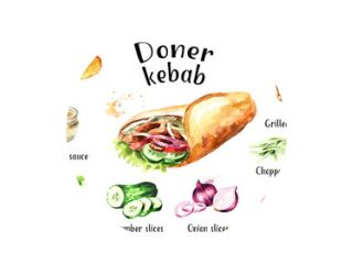 Doner kebab ingrediënten set. Aquarel hand getekende illustratie, geïsoleerd op een witte achtergrond