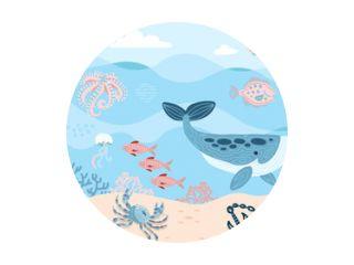 Zee bewoners. Octopus, walvis, vis, krab en algen. Zeeleven op zeebodem met ankor op zand. Hand getekend platte cartoon achtergrond. Onderwater wereld. Vectorillustratie van onderzees landschap