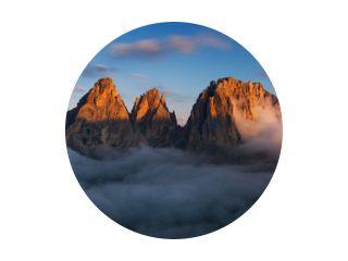 Luchtfoto van Grohmann Spitze, Dolomieten, Italië