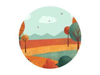 Herfstlandschap (kaart) met konijn, egel, bladeren, bomen. Hand getekende illustratie.