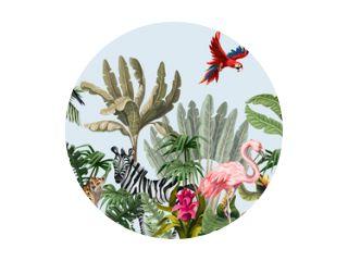 Naadloze grens met jungle dieren, bloemen en bomen. Vector.