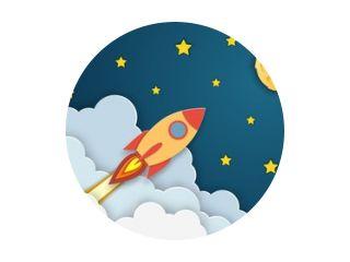 Raketlancering naar de maan. Papier gesneden startpostersjabloon met ruimteraket. Concept bedrijfsidee, opstarten, exploratie. flyers, banners, posters en sjablonen ontwerpen.