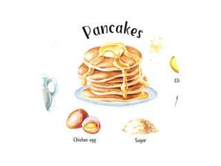 Recept voor pannenkoeken met ingrediënten. Hand getekende aquarel illustratie geïsoleerd op een witte achtergrond